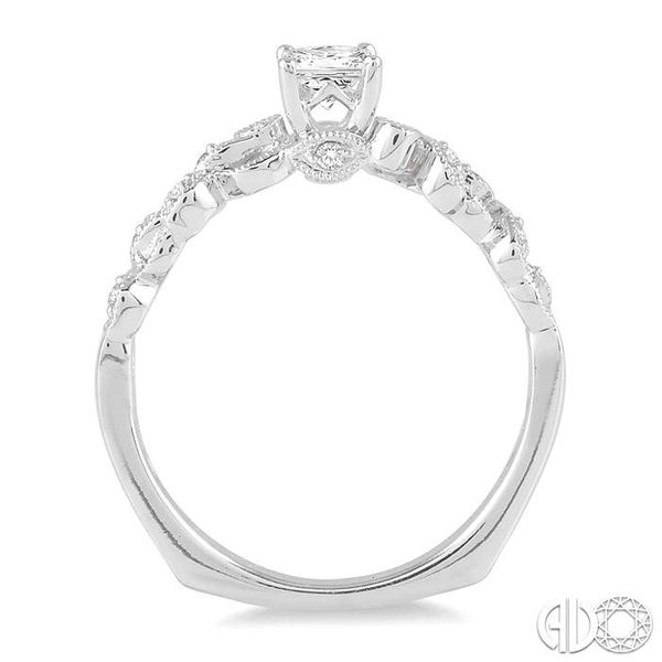 3/8 Ctw Diamond Engagement Ring with 1/3 Ct Princess Cut Center Stone in 14K White Gold Image 3 Becker's Jewelers Burlington, IA