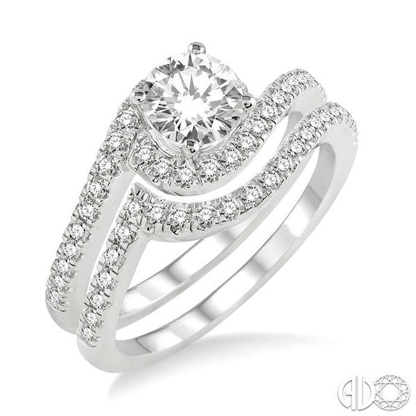 1 Ctw Diamond Wedding Set with 3/4 Ctw Round Cut Engagement Ring and 1/5 Ctw Wedding Band in 14K White Gold Becker's Jewelers Burlington, IA