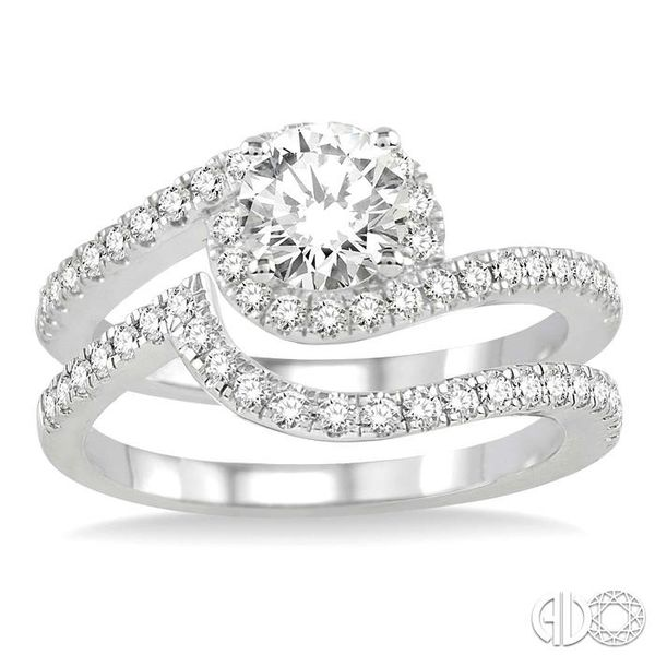 1 Ctw Diamond Wedding Set with 3/4 Ctw Round Cut Engagement Ring and 1/5 Ctw Wedding Band in 14K White Gold Image 2 Becker's Jewelers Burlington, IA