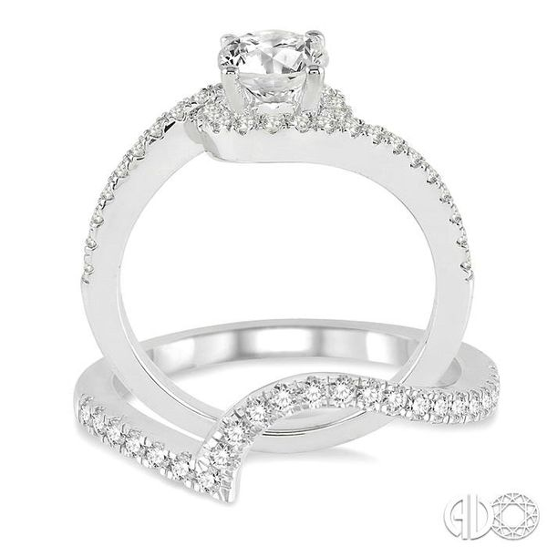 1 Ctw Diamond Wedding Set with 3/4 Ctw Round Cut Engagement Ring and 1/5 Ctw Wedding Band in 14K White Gold Image 3 Becker's Jewelers Burlington, IA