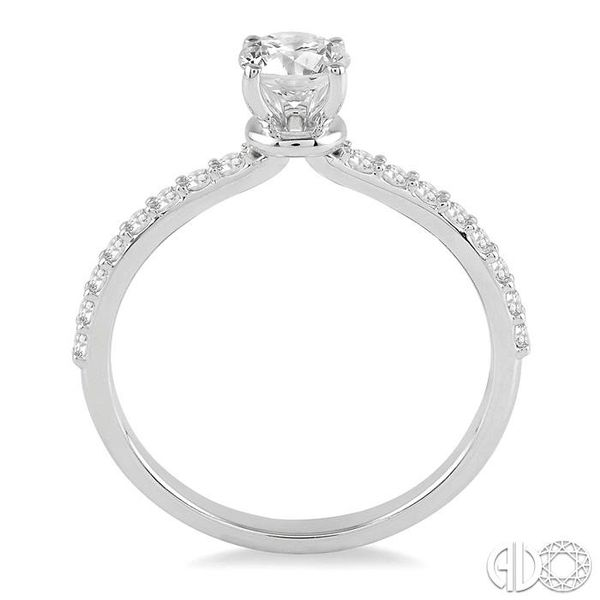 3/4 Ctw Diamond Engagement Ring with 1/2 Ct Round Cut Center Stone in 14K White Gold Image 3 Becker's Jewelers Burlington, IA