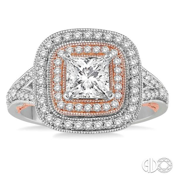 1/2 ct Semi-Mount Split Shank Round Cut Diamond Engagement Ring in 14K White and Rose Gold Image 2 Becker's Jewelers Burlington, IA