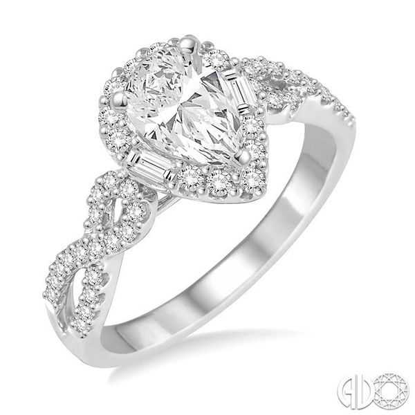 1/2 ctw Twisted Shank Pear Shape Semi-Mount Round Cut & Baguette Diamond Engagement Ring in 14K White Gold Becker's Jewelers Burlington, IA