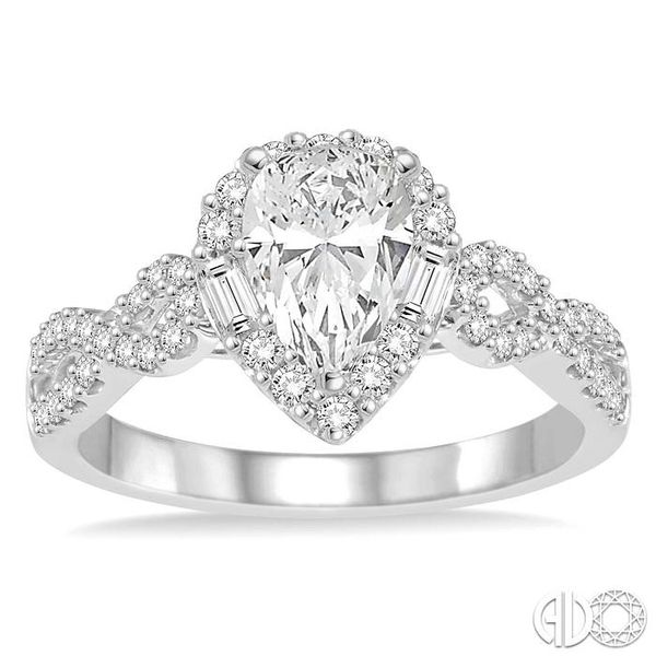 1/2 ctw Twisted Shank Pear Shape Semi-Mount Round Cut & Baguette Diamond Engagement Ring in 14K White Gold Image 2 Becker's Jewelers Burlington, IA