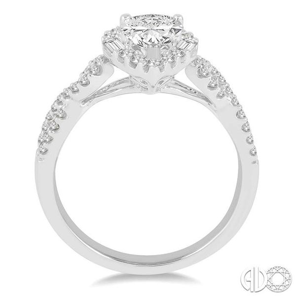 1/2 ctw Twisted Shank Pear Shape Semi-Mount Round Cut & Baguette Diamond Engagement Ring in 14K White Gold Image 3 Becker's Jewelers Burlington, IA