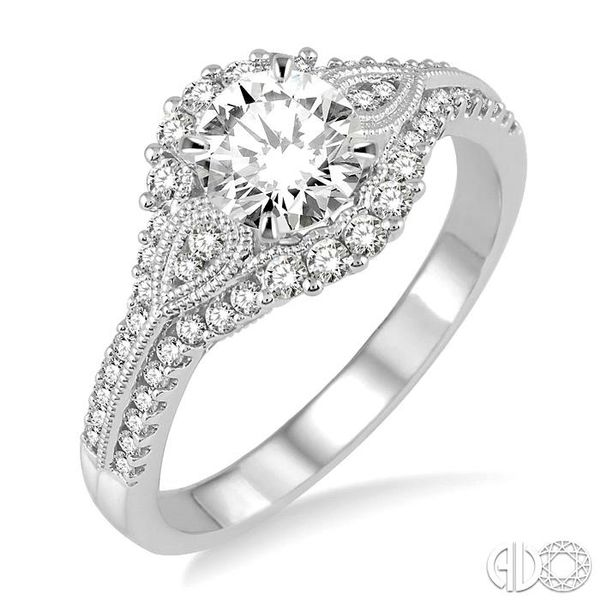1 1/6 Ctw Diamond Engagement Ring with 3/4 Ct Round Cut Center Stone in 14K White Gold Becker's Jewelers Burlington, IA