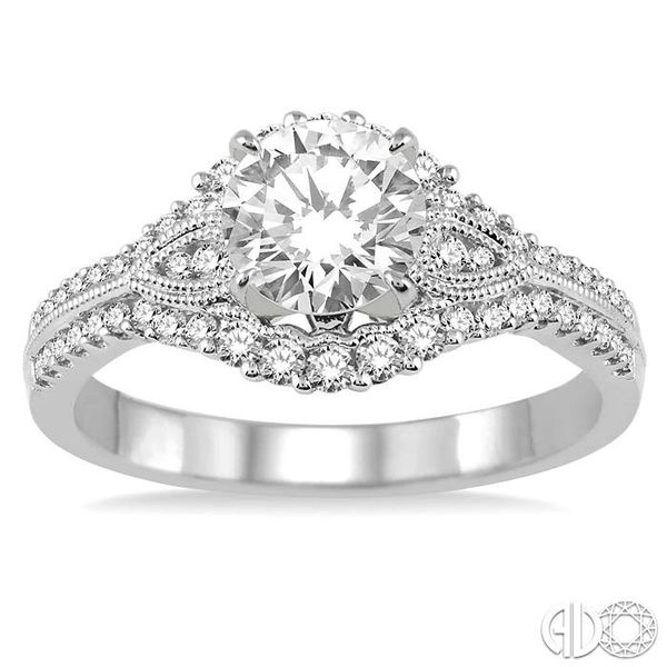 1 1/6 Ctw Diamond Engagement Ring with 3/4 Ct Round Cut Center Stone in 14K White Gold Image 2 Becker's Jewelers Burlington, IA