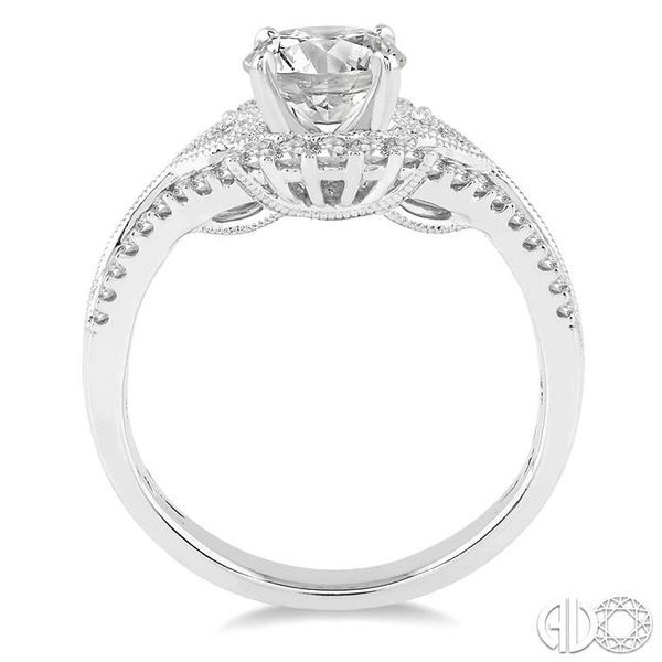1 1/6 Ctw Diamond Engagement Ring with 3/4 Ct Round Cut Center Stone in 14K White Gold Image 3 Becker's Jewelers Burlington, IA