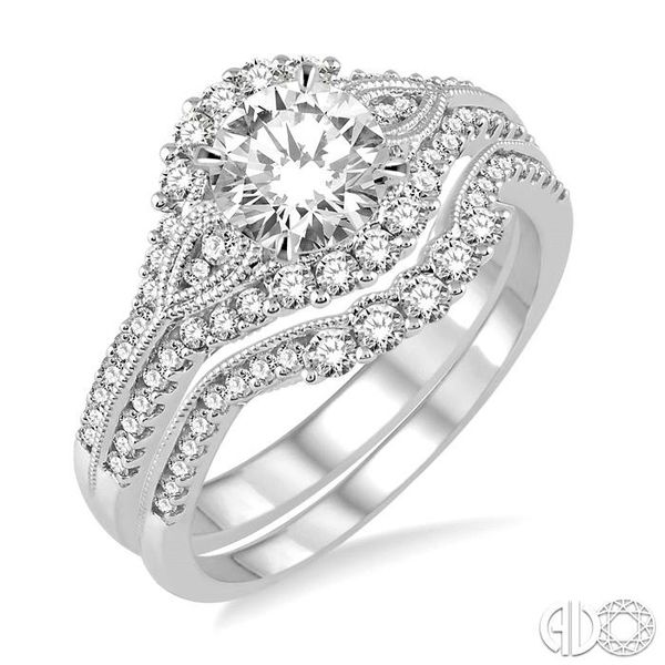 1 1/3 Ctw Diamond Wedding Set with 1 1/6 Ctw Round Cut Engagement Ring and 1/5 Ctw Wedding Band in 14K White Gold Becker's Jewelers Burlington, IA