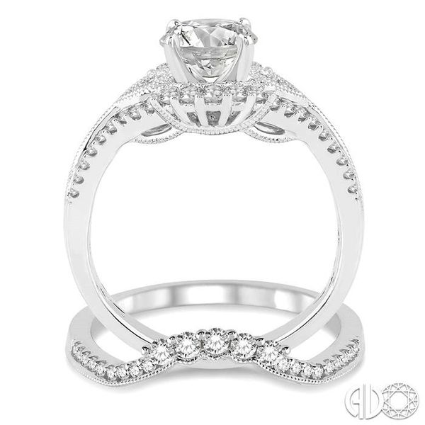1 1/3 Ctw Diamond Wedding Set with 1 1/6 Ctw Round Cut Engagement Ring and 1/5 Ctw Wedding Band in 14K White Gold Image 3 Becker's Jewelers Burlington, IA