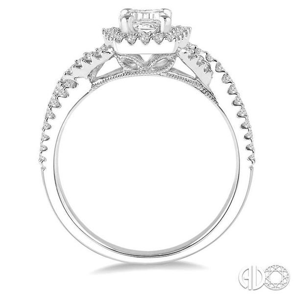 1/2 Ctw Barrel Shape Crossed Shank Semi-Mount Round Cut Diamond Engagement Ring in 14K White Gold Image 3 Becker's Jewelers Burlington, IA