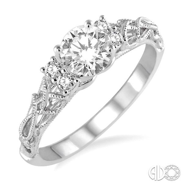 1/3 Ctw Diamond Engagement Ring with 1/4 Ct Round Cut Center Stone in 14K White Gold Becker's Jewelers Burlington, IA