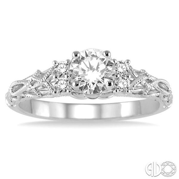 1/3 Ctw Diamond Engagement Ring with 1/4 Ct Round Cut Center Stone in 14K White Gold Image 2 Becker's Jewelers Burlington, IA