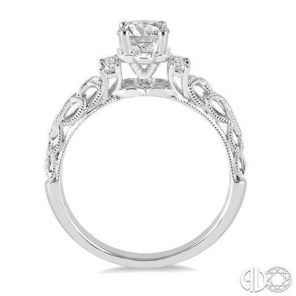 1/3 Ctw Diamond Engagement Ring with 1/4 Ct Round Cut Center Stone in 14K White Gold Image 3 Becker's Jewelers Burlington, IA