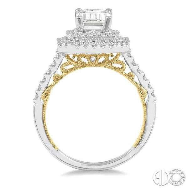 3/4 ctw Emerald Shape Round Cut Diamond Semi-Mount Engagement Ring in 14K White and Yellow Gold Image 3 Becker's Jewelers Burlington, IA