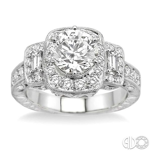 1 Ctw Diamond Semi-Mount Engagement Ring in 14K White Gold Image 2 Becker's Jewelers Burlington, IA