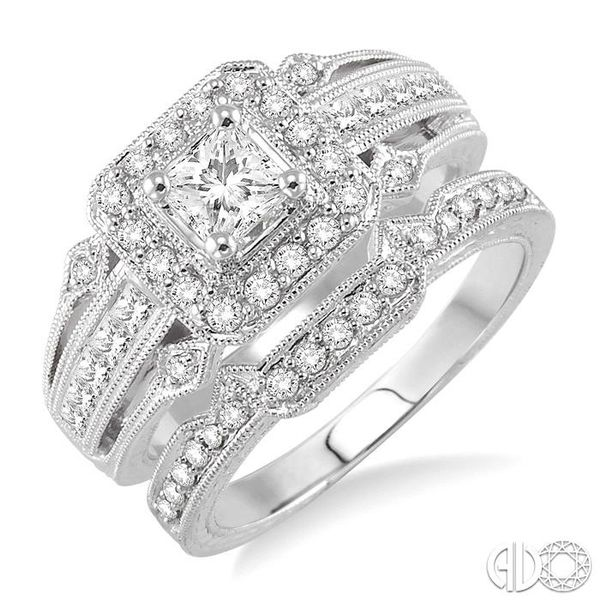 1 Ctw Diamond Wedding Set with 3/4 Ctw Princess Cut Engagement Ring and 1/6 Ctw Wedding Band in 14K White Gold Becker's Jewelers Burlington, IA