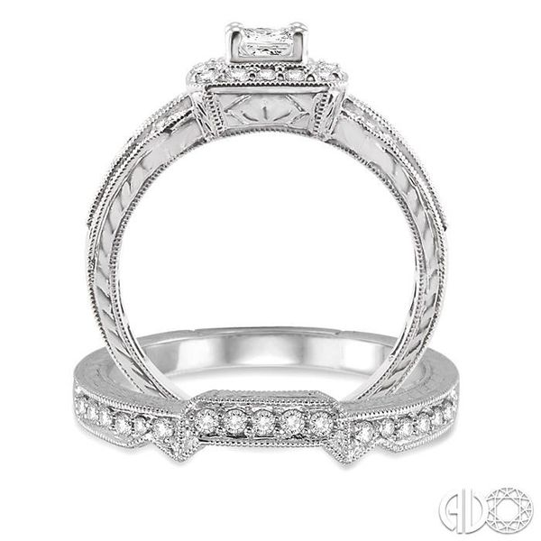 1 Ctw Diamond Wedding Set with 3/4 Ctw Princess Cut Engagement Ring and 1/6 Ctw Wedding Band in 14K White Gold Image 3 Becker's Jewelers Burlington, IA