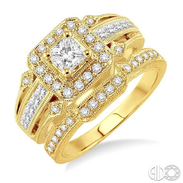 1 Ctw Diamond Wedding Set with 3/4 Ctw Princess Cut Engagement Ring and 1/6 Ctw Wedding Band in 14K Yellow Gold Becker's Jewelers Burlington, IA