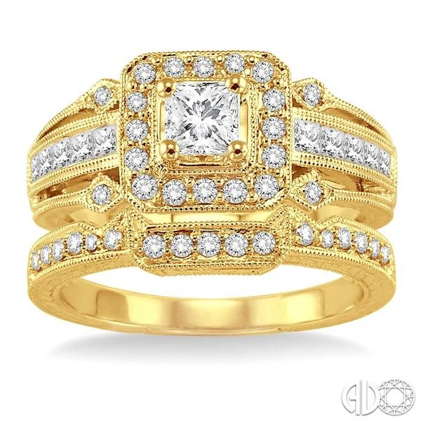 1 Ctw Diamond Wedding Set with 3/4 Ctw Princess Cut Engagement Ring and 1/6 Ctw Wedding Band in 14K Yellow Gold Image 2 Becker's Jewelers Burlington, IA
