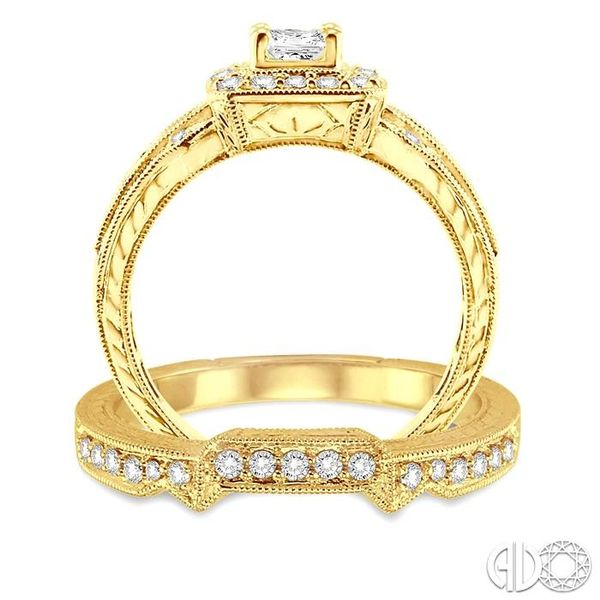 1 Ctw Diamond Wedding Set with 3/4 Ctw Princess Cut Engagement Ring and 1/6 Ctw Wedding Band in 14K Yellow Gold Image 3 Becker's Jewelers Burlington, IA