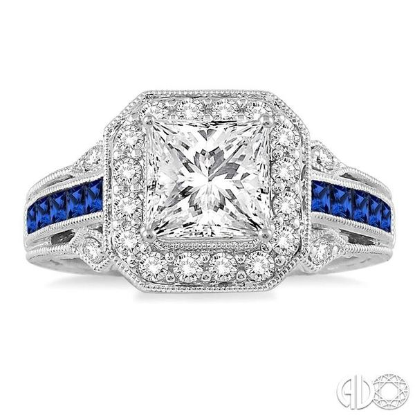 1.9MM Princess cut Sapphire and 1/2 Ctw Diamond Semi-Mount Engagement Ring in 14K White Gold Image 2 Becker's Jewelers Burlington, IA