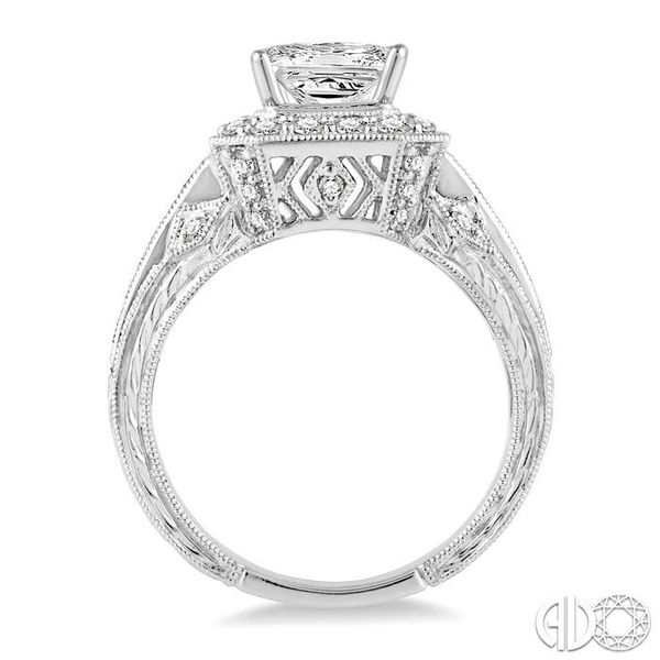 1.9MM Princess cut Sapphire and 1/2 Ctw Diamond Semi-Mount Engagement Ring in 14K White Gold Image 3 Becker's Jewelers Burlington, IA