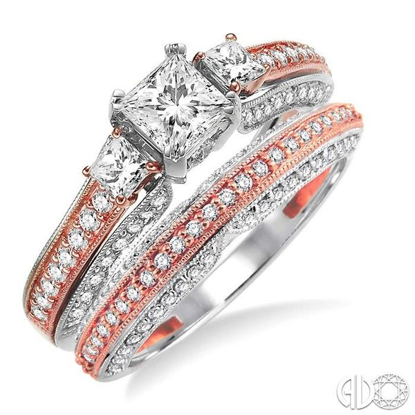 1 1/4 Ctw Diamond Wedding Set with 1 Ctw Princess Cut Engagement Ring and 1/4 Ctw Wedding Band in 14K White and Rose Gold Becker's Jewelers Burlington, IA