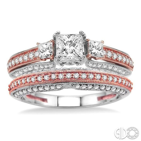 1 1/4 Ctw Diamond Wedding Set with 1 Ctw Princess Cut Engagement Ring and 1/4 Ctw Wedding Band in 14K White and Rose Gold Image 2 Becker's Jewelers Burlington, IA