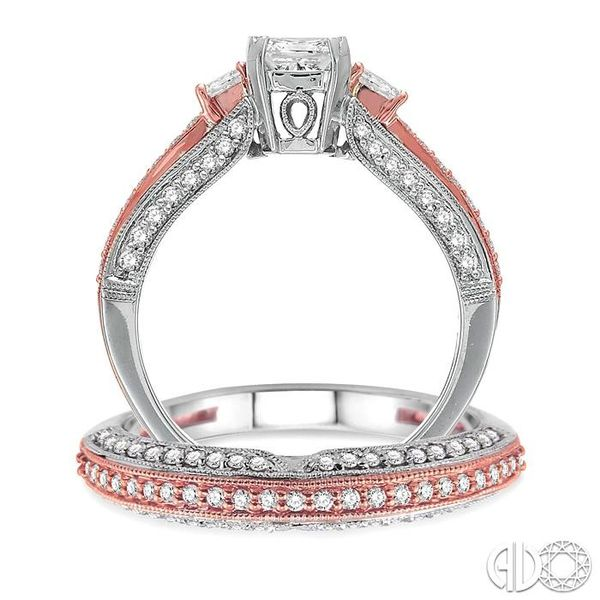 1 1/4 Ctw Diamond Wedding Set with 1 Ctw Princess Cut Engagement Ring and 1/4 Ctw Wedding Band in 14K White and Rose Gold Image 3 Becker's Jewelers Burlington, IA