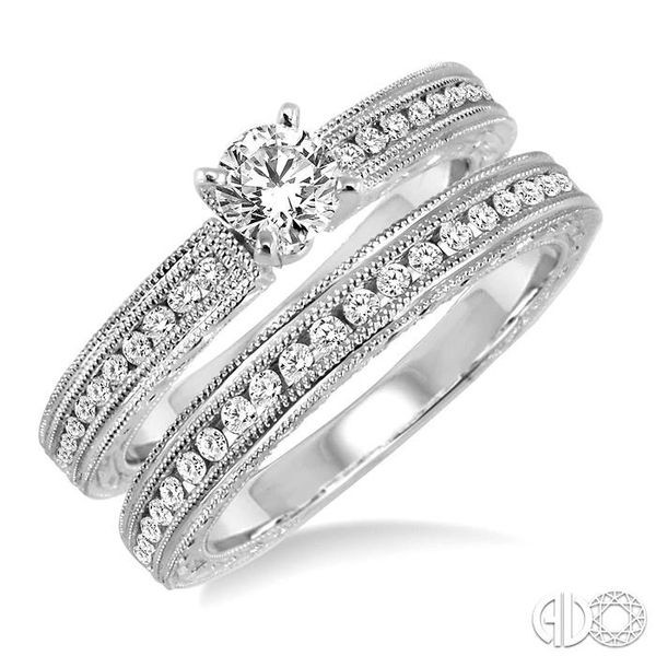 3/4 Ctw Diamond Wedding Set with 1/2 Ctw Round Cut Engagement Ring and 1/4 Ctw Wedding Band in 14K White Gold Becker's Jewelers Burlington, IA