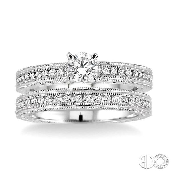 3/4 Ctw Diamond Wedding Set with 1/2 Ctw Round Cut Engagement Ring and 1/4 Ctw Wedding Band in 14K White Gold Image 2 Becker's Jewelers Burlington, IA
