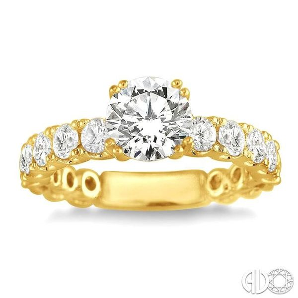 1 3/4 Ctw Diamond Engagement Ring with 3/4 Ct Round Cut Center Stone in 14K Yellow Gold Image 2 Becker's Jewelers Burlington, IA