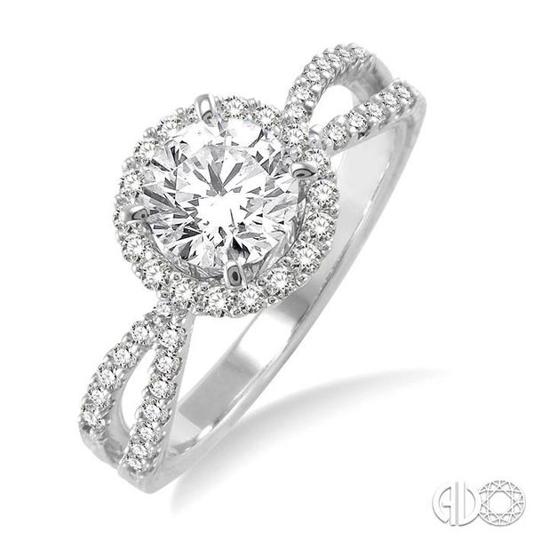 7/8 Ctw Diamond Engagement Ring with 1/2 Ct Round Cut Center Stone in 14K White Gold Becker's Jewelers Burlington, IA