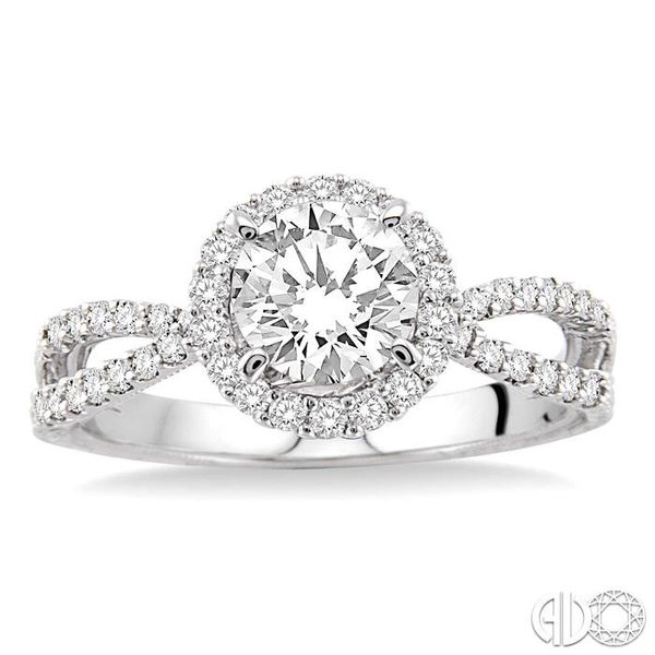 7/8 Ctw Diamond Engagement Ring with 1/2 Ct Round Cut Center Stone in 14K White Gold Image 2 Becker's Jewelers Burlington, IA