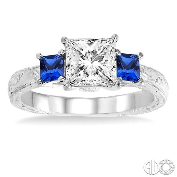 3.3 MM Princess Cut Sapphire and 1/50 Ctw Diamond Semi-Mount Engagement Ring in 14K White Gold Image 2 Becker's Jewelers Burlington, IA