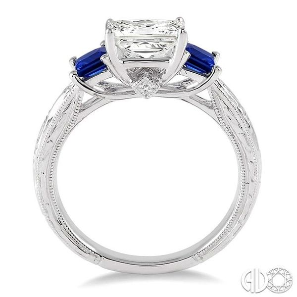 3.3 MM Princess Cut Sapphire and 1/50 Ctw Diamond Semi-Mount Engagement Ring in 14K White Gold Image 3 Becker's Jewelers Burlington, IA