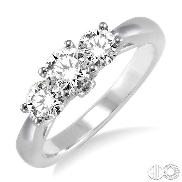 1 Ctw Diamond Engagement Ring with 3/8 Ct Round Cut Center Stone in 14K White Gold Becker's Jewelers Burlington, IA