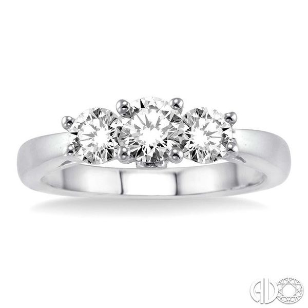 1 Ctw Diamond Engagement Ring with 3/8 Ct Round Cut Center Stone in 14K White Gold Image 2 Becker's Jewelers Burlington, IA