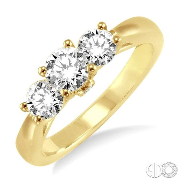 1 Ctw Diamond Engagement Ring with 3/8 Ct Round Cut Center Stone in 14K Yellow Gold Becker's Jewelers Burlington, IA