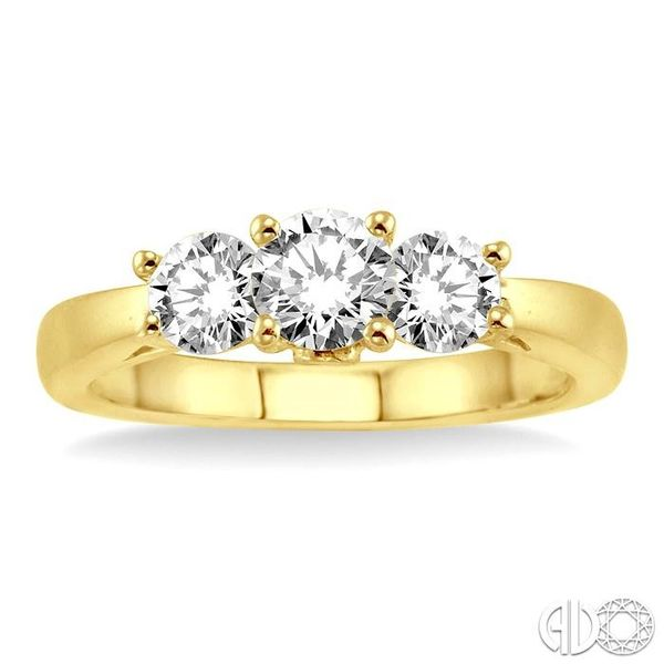 1 Ctw Diamond Engagement Ring with 3/8 Ct Round Cut Center Stone in 14K Yellow Gold Image 2 Becker's Jewelers Burlington, IA