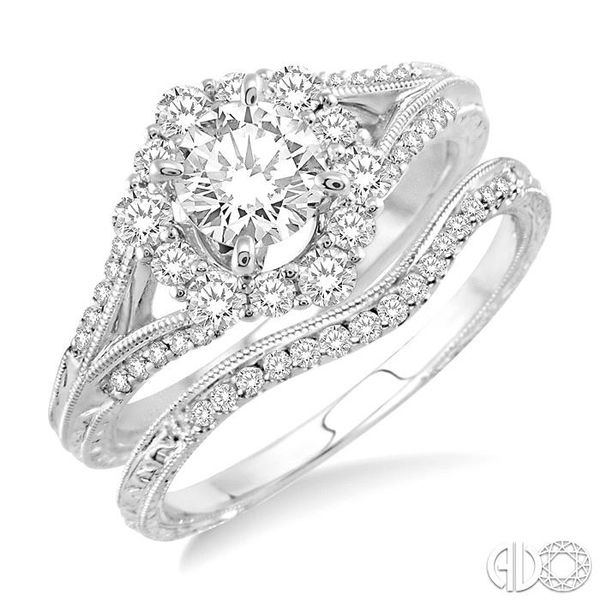 1 1/10 Ctw Diamond Wedding Set with 1 Ctw Round Cut Engagement Ring and 1/10 Ctw Wedding Band in 14K White Gold Becker's Jewelers Burlington, IA