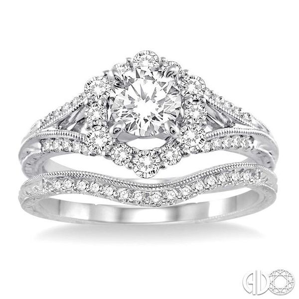 1 1/10 Ctw Diamond Wedding Set with 1 Ctw Round Cut Engagement Ring and 1/10 Ctw Wedding Band in 14K White Gold Image 2 Becker's Jewelers Burlington, IA