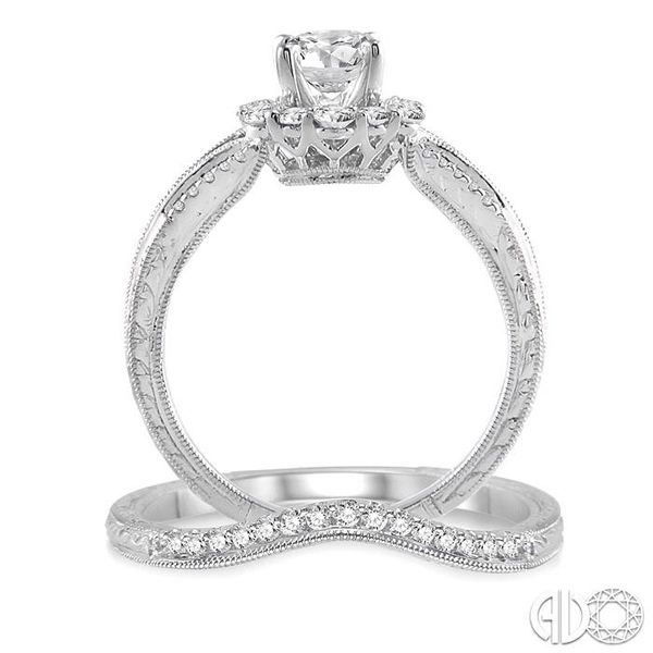 1 1/10 Ctw Diamond Wedding Set with 1 Ctw Round Cut Engagement Ring and 1/10 Ctw Wedding Band in 14K White Gold Image 3 Becker's Jewelers Burlington, IA