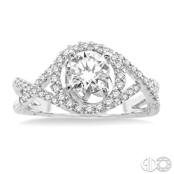 1 Ctw Diamond Engagement Ring with 3/4 Ct Round Cut Center Stone in 14K White Gold Image 2 Becker's Jewelers Burlington, IA