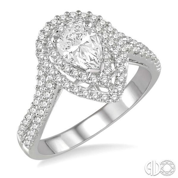 1/2 Ctw Double Row Pear Shape Semi-Mount Diamond Engagement Ring in 14K White Gold Becker's Jewelers Burlington, IA