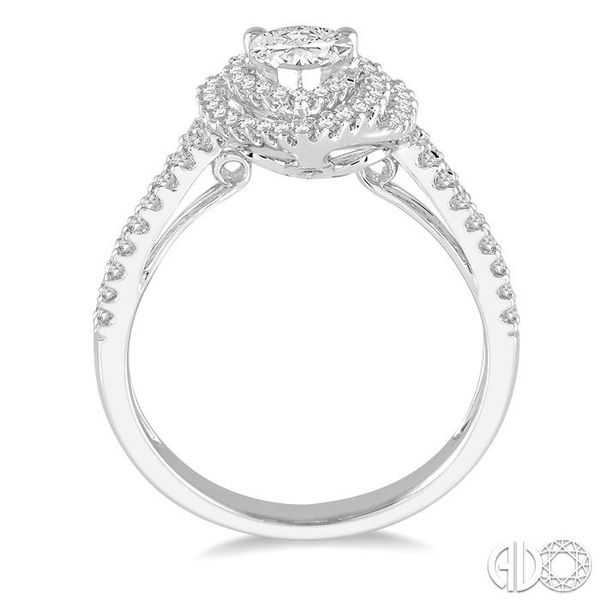 1/2 Ctw Double Row Pear Shape Semi-Mount Diamond Engagement Ring in 14K White Gold Image 3 Becker's Jewelers Burlington, IA