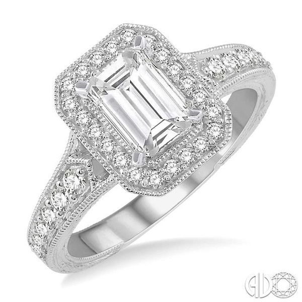3/8 Ctw Octagonal Shape Semi-Mount Round Cut Diamond Engagement Ring in 14K White Gold Becker's Jewelers Burlington, IA