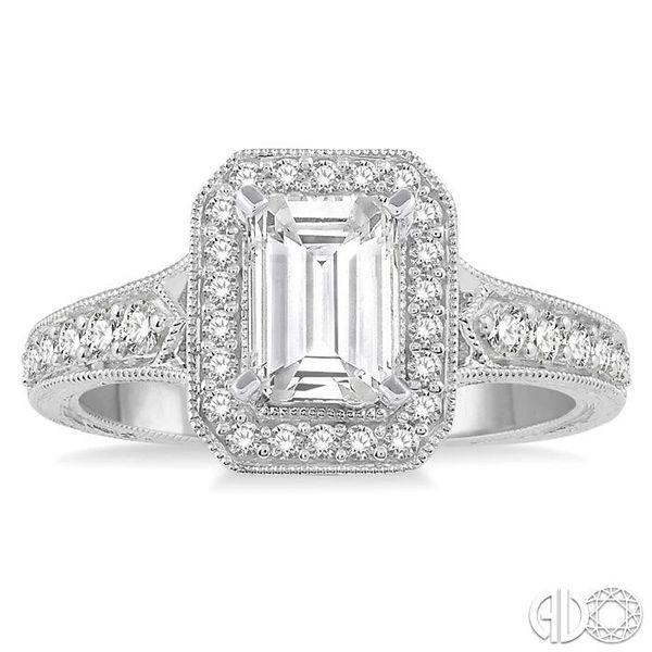 3/8 Ctw Octagonal Shape Semi-Mount Round Cut Diamond Engagement Ring in 14K White Gold Image 2 Becker's Jewelers Burlington, IA