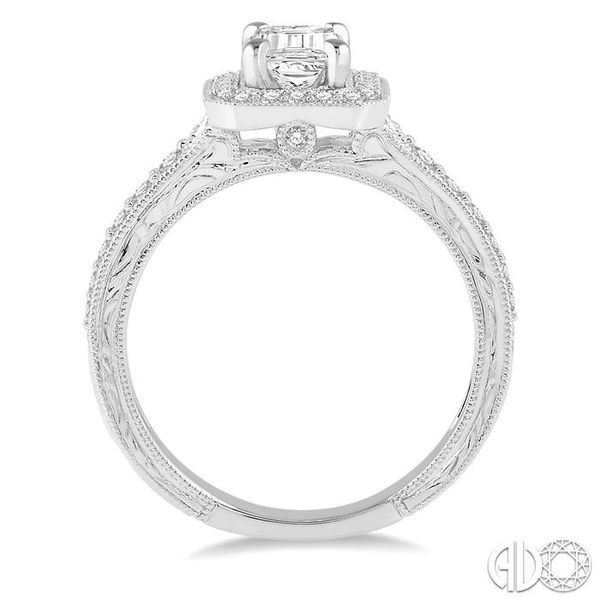 3/8 Ctw Octagonal Shape Semi-Mount Round Cut Diamond Engagement Ring in 14K White Gold Image 3 Becker's Jewelers Burlington, IA